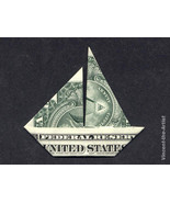 Money Origami SAILBOAT  - Dollar Bill Art - Mad... - $14.95