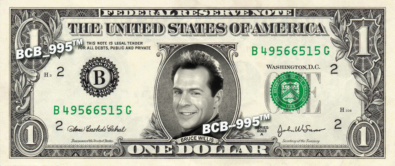 Primary image for BRUCE WILLIS on REAL Dollar Bill - Collectible Celebrity Custom Cash Money Art