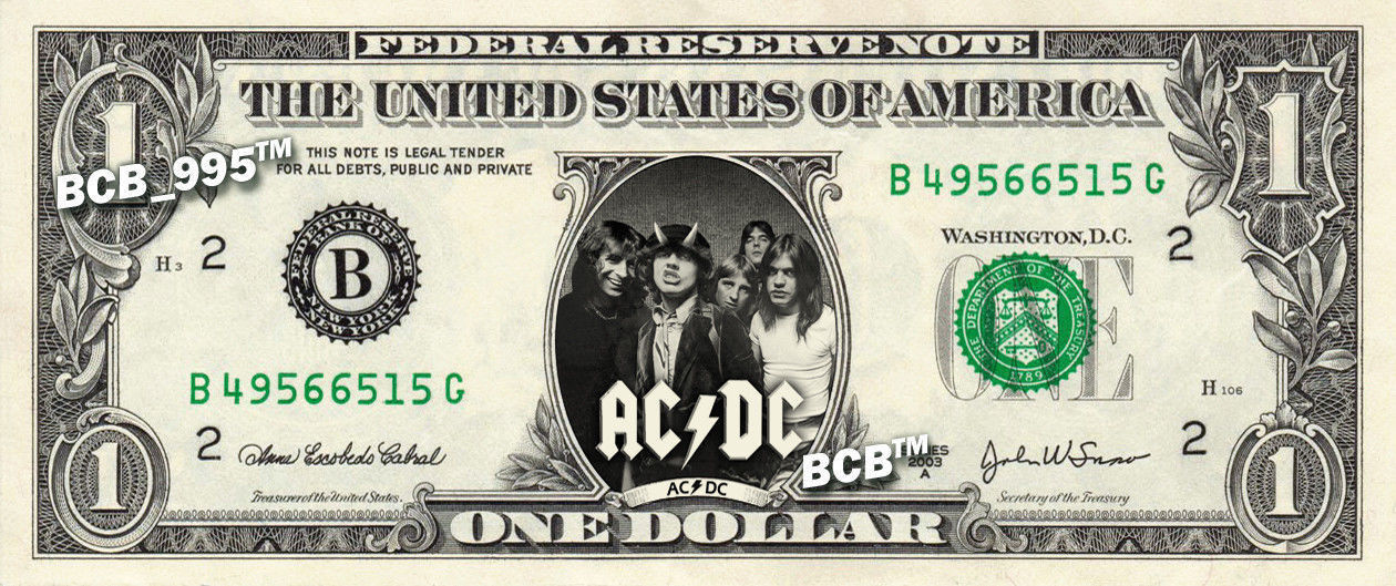 Primary image for AC DC on REAL Dollar Bill - Collectible Celebrity Custom Cash Money Art ACDC