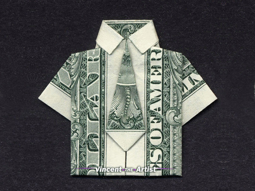 Money Origami Dress Shirt Tie Dollar Bill And Similar Items