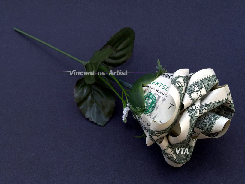 ROSE FLOWER Money Origami - Plant Made from Real Dollar Bills