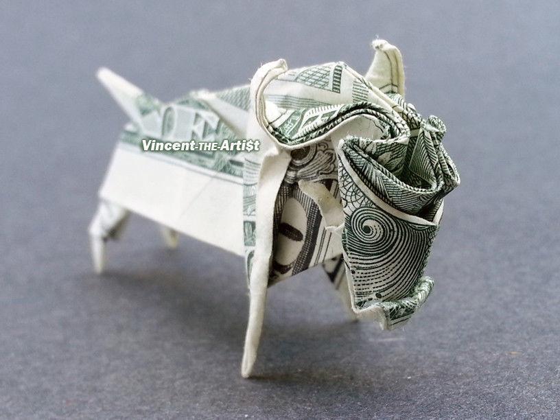 Money Origami OX - Dollar Bill Art - Made with real $1.00 Bill