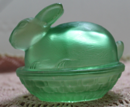 Vintage Candy Dish Green Bunny on Basket Easter Decor  - $12.00