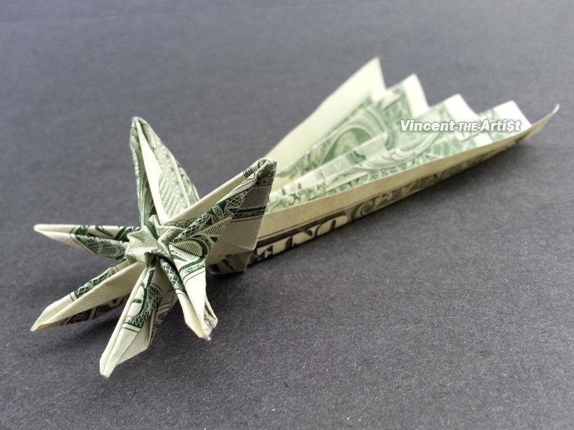 SHOOTING STAR Money Origami - Dollar Bill Art - Origami - photo#34