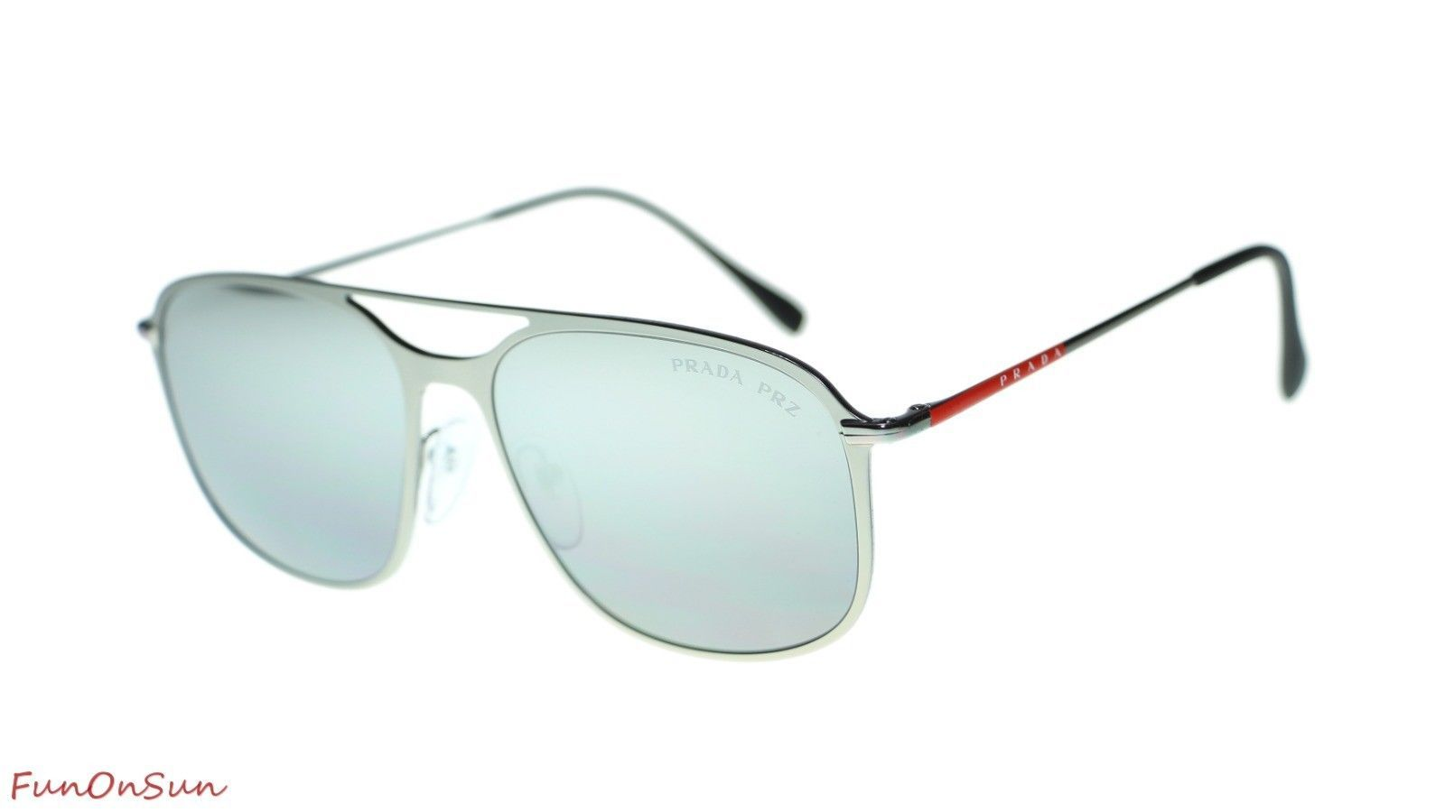 Prada Men  PS53TS 7CQ2F2 Matte Gunmetal/Polar Grey Mirror Silver Polarized Lens