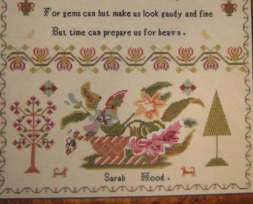 Sarah Hood C1840 Antique Sampler Reproduction cross stitch Samplers Revisited