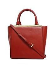 Michael Kors Lana Medium Leather Tote Bag One Size DK RED - $451.44