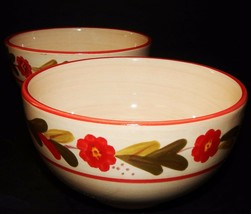 2 Ballard Designs Country Flower Soup Bowls Red Rimmed  Hand Painted Sto... - $29.69