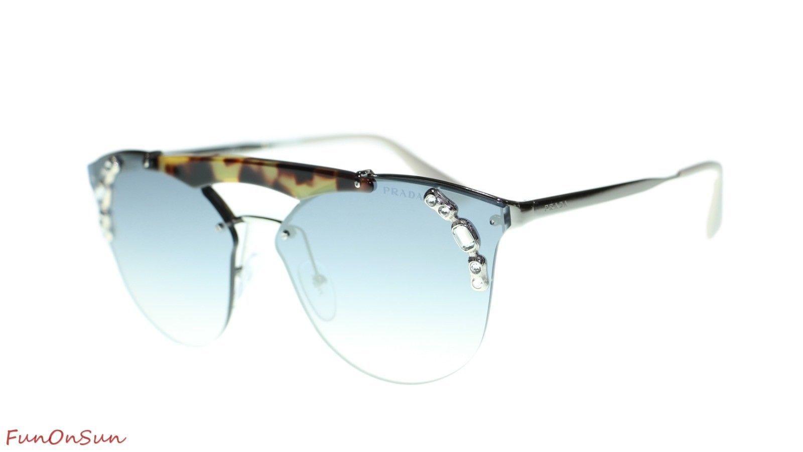 Prada Sunglasses PR53US 23C5R0 Silver Havana/Light Blue Mirror Silver Lens