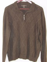 Men's Brown Tasso Elba Macy's Quarter Zip Sweater Diamond Pattern Pullover - $186,18 MXN