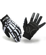 Motorcycle Racing Biker Full Finger Gloves Skeleton Skull Bone -White -M... - $19.99