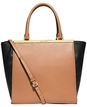 Michael Kors Lana Colorblocked Large Convertible Tote Suntan/black - $383.13