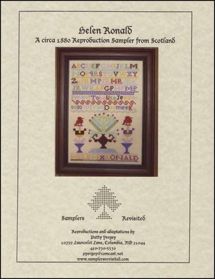 Helen Ronald C1880 Antique Sampler Reproduction cross stitch Samplers Revisited