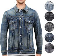 Men's Distressed Ripped Faded Wash Worn Button Up Denim Jean Trucker Jacket
