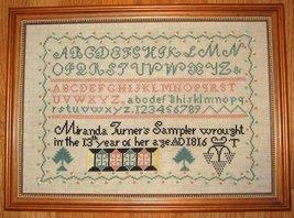 Miranda Turner 1816 Antique Sampler Reproduction cross stitch Samplers Revisited - $12.00