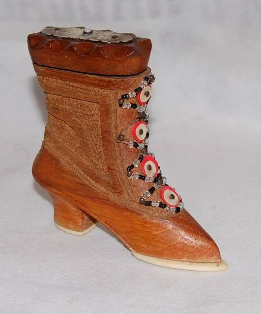 Antique English Carved Wood Bone Victorian Shoe Box Beades Laces