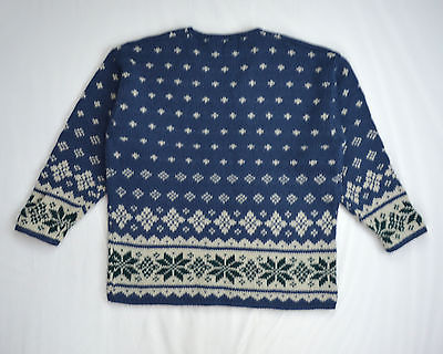 ABERCROMBIE & FITCH Thick Blue 100% Wool Nordic Knit Ski Lodge Sweater Shirt M