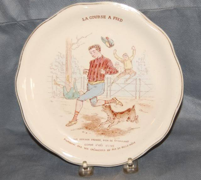 French J & G Luniville Pottery Plate The Foot Race