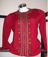 Red embroidered longsleeve blouse,made of alpacawool - $267.00
