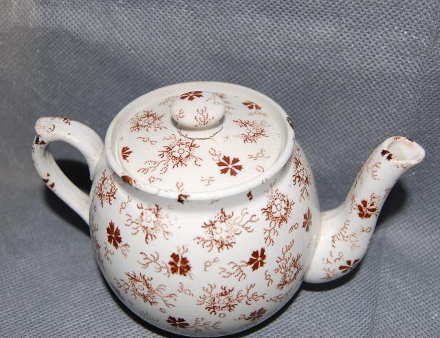 Hollinshead & Kirkham Pottery Brown Calico Transfer Printed Child's Tea Set
