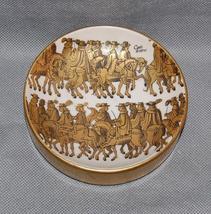 Italian Gilt Conti Diversi Men on Horseback Ashtray Dish - $125.00