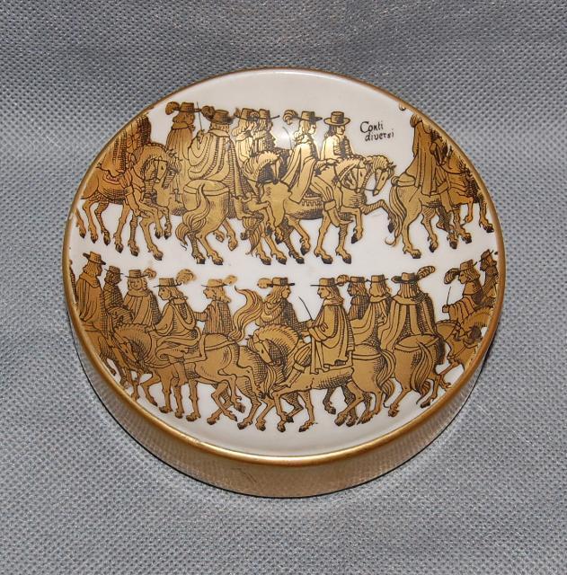 Italian Gilt Conti Diversi Men on Horseback Ashtray Dish