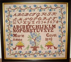 Marie Goyel 1989 Antique Sampler Reproduction cross stitch Samplers Revi... - $10.00