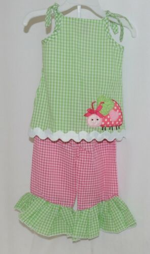 Mud Pie Baby Green Red Gingham Tunic Top Flare Pants 12 18 Months