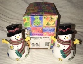 Sango China SWEET SHOPPE Christmas Snowman Salt & Pepper Shakers Sue Zip... - $13.86