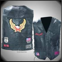 Mens Black Leather Eagle Motorcycle Biker Vest with Patches Size Large - $21.99