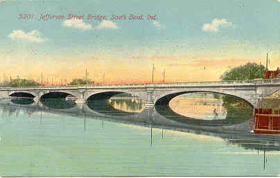 Jefferson Street Bridge South Bend Indiana1912 Post Card