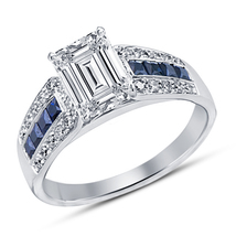 Engagement Anniversary Ring 14K White Gold Emerald Cut New Sim Diamond J... - $74.26