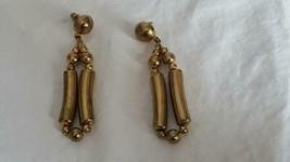 "3""VINTAGE 1980'S Diva Rustic Brass Dangle Post Stud Earrings, Hollow Lite Weight - $4.94"