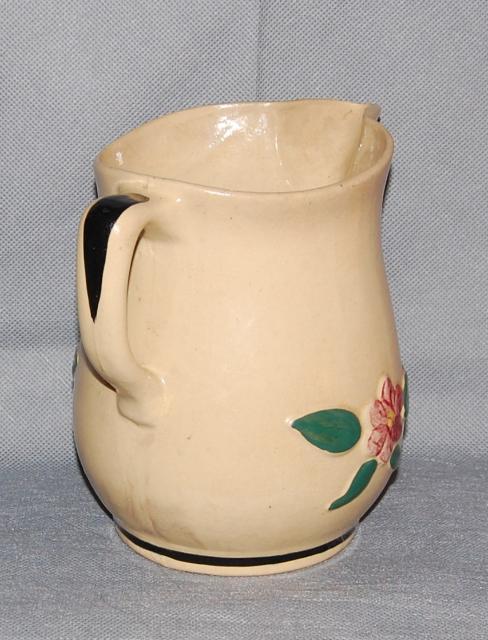 Watt Pottery Yelloware Raised Pansy Rio Rose Pitcher