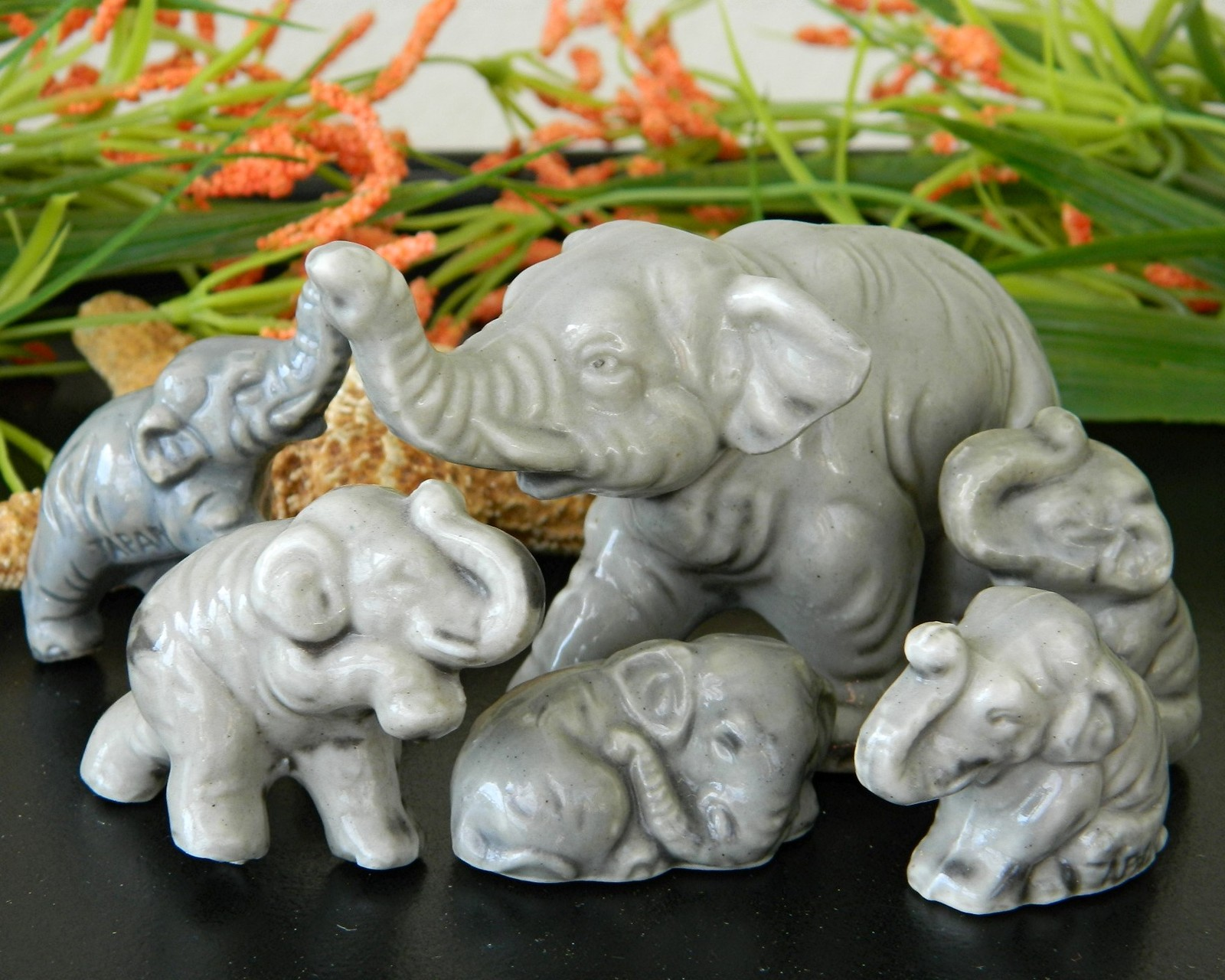Primary image for Vintage 6 Elephant Figurines Family Miniature Japan Gray Porcelain