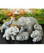 Vintage 6 Elephant Figurines Family Miniature J... - $15.95