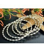 Bangle Bracelets Set 6 Nesting Stackable Silver Tone Spiral Twist - $15.95