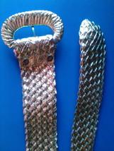 """Vintage 70's Belt Gold Belt Fashion Retro Basket Weave Gold Vinyl Belt 37"""" - $29.99"""