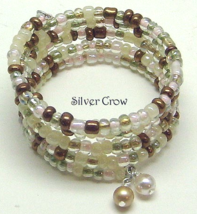 Clear White Pink Bronze  Memory Wire Bracelet Seed Beads  - $10.99
