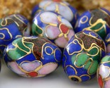Vintage 10 Cloisonne Beads Oval Chinese Cobalt Blue Flowers Blossoms