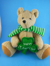 "Handcrafted Teddy Bear  Happy St Pat's Day with Green Shamrock OAK 9"" Si... - $11.08"