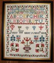Jessy Walker 1844 Antique Sampler Reproduction cross stitch Samplers Revisite - $10.00