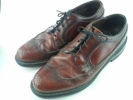 Men's Vintage Florsheim Shoes Long Wing Tip Brown 75676 Lace Up Oxfords - $72.95