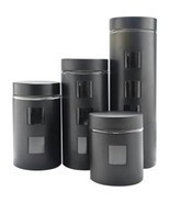 Pl 4pc Canister Set W/glass Bk - £14.72 GBP