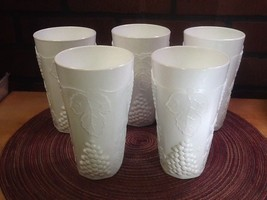 "Estate Milk Glass 6"" Tall Drinking Glass Tumbler Paneled Grape  Leaf  (Set of 5) - $22.85"