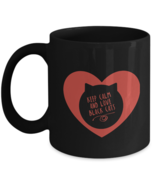 Cute Cat Mug - Keep Calm & Love Black Cats - Red Heart black coffee cup ... - £12.30 GBP+