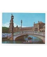 Spain Seville Plaza de Espana Bridge Vintage Postcard 4x6 Sevilla - $5.69