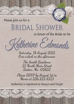 Rustic Bridal Shower or Baby Shower Invitation, Burlap, Lace, Custom Inv... - £0.74 GBP