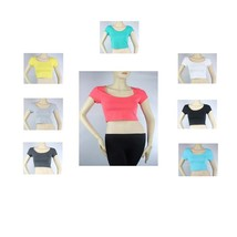Sexy Scoop Neck Short Sleeve CROP TOP Cotton Solid Color Basic Cute T- S... - $5.99