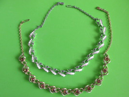 Two Vintage Rhinestone Necklaces, Amber & Clear Stones, White Enameling ... - $15.00